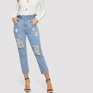 Distressed paper bag mom jeans